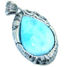 $178.55 Genuine+Blue+Larimar++Sterling+Silver+handmade+Pendant at www.SilverRushStyle.com #pendant #handmade #jewelry #silver #larimar