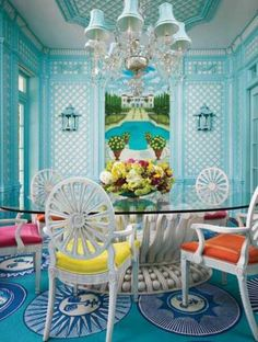 39 Inspiring Colorful Dining Room Design: 39 Inspiring Colorful Dining Room Design With Blue Wall Chandelier And Round Glass Dining Table And