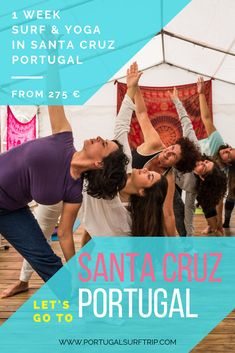 1 WEEK SURF & YOGA IN SANTA CRUZ   PORTUGAL SURF TRIP what is included : ~ 7 nights accommodation with breakfast ~ 5 surf lesson ~ full surf equipment  & insurance ~ beach transfer to the best spot ~ 5 yoga lessons ~ welcome dinner on Monday ~ 1 massage of 45min. ~ 1 hiking tour ~ bed linen & towel ~ Wi-Fi ~ *airport transfer offer #portugalSurfTrip #surf ##yoga #trip #enjoy #adventure #in #portugal #relax #fun #surfing #new #friends Santa Cruz Portugal, Santa Cruz Surf, Yoga Lessons, Hiking Tours, Surf Trip, Adventure Activities, Yoga Retreat, Bed Linen, Wi Fi