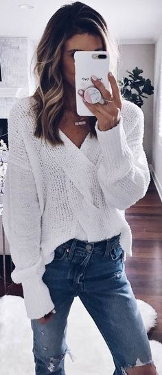#winter #outfits white sweater, ripped jeans