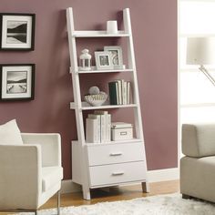 Have to have it. Monarch 69 in. Ladder Bookcase with 2 Storage Drawers - White - $142.99 @hayneedle