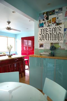 A High-Gloss Red & Turquoise Kitchen Kitchen Spotlight @Genavieve Gilbert love these colors!!