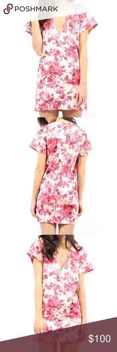 SHIFT DRESS V Neck Floral Print Garden Party Mini Available Sizes: XS, Medium. New with tags. $88 Retail + Tax.  • Beautiful mini dress featuring an all-over floral print & plunging v-neckline. • Perfect for dressing up or down. • Shift dress style, size up for a looser fit. • Thick neoprene fabric, not sheer.  • Hidden back zip closure. • Measurements provided in comment(s) section below.   {Southern Girl Fashion - Boutique Policy}   ✔️ Same-Business-Day Shipping (10am CT). ✔️ Price shown…