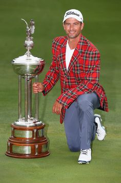 Adam Scott doesn't slip on another green jacket, but instead a plaid one after defeating Jason Dufner in a 3 hole playoff. #CrownePlazaInvitational #GOGI #winner #CPIAC