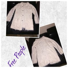 Free People Off white Fuzzy Cardigan Sweater ⚡️Final Reduction⚡️Free People Off white Fuzzy Cardigan Sweater, light weight, soft, loss knit cardigan, effortless silhouettes and is featured in a midi length. In great condition. Free People Sweaters