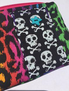 Rainbow Leopard Print Pouch: Skull Pocket.