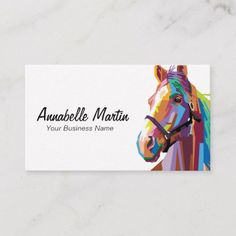 Shop Colorful Pop Art Horse Business Card created by HRWallaceDesigns. Art Business Cards, Business Names, Title Card, Job Title, Family Brand, Bussiness Card, Pop Art Portraits, Calling Cards, Vintage Circus
