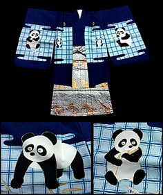 A Japanese, A boy's Shichi Go San ensemble of a haori, with cute pandas, a blue kimono and hakama with golden shishi (protective lions). From FuruGuru. Currently available at http://www.wafuku.co.uk