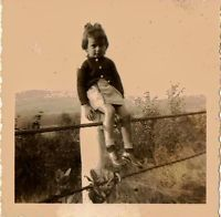 Old Vintage Antique Photograph Little Girl Sitting on a Pole