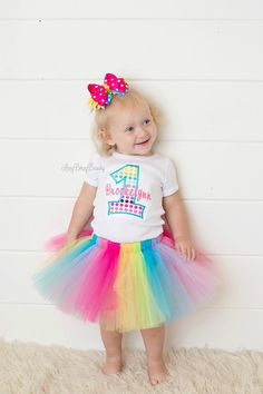 Girls first birthday rainbow outfit tutu one 1 by Itzybitzybeauty