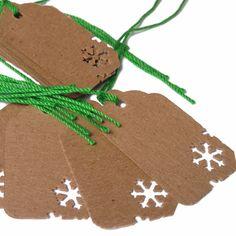 10 Kraft Snowflake Christmas Holiday Gift Tags by CatalinaInspired, $5.00