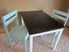 Play room table painted with chalkboard paint
