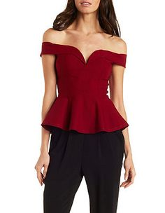 Off-the-Shoulder Plunging Peplum Top: Charlotte Russe Sexy Outfits, Pretty Outfits, Red Off Shoulder Top, Suits For Women, Clothes For Women, Wedding Saree Blouse Designs, Stylish Tops, African Fashion Dresses, Blouse Styles