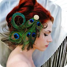 Art Nouveau Headpiece - Peacock Headpiece - Feather Fascinator - Crystal Rhinestone Hair Piece - Bridal Headdress - Wedding Headpiece by RoseoftheMire on Etsy https://www.etsy.com/uk/listing/127165280/art-nouveau-headpiece-peacock-headpiece