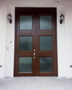 the front door companyModern Wood Door 3 x 68 Mahogany 4lite Rubi with Matte glass