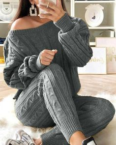 Casual Plain Sweater Pullover Pencil Pants Two Piece Sets Suits For Women, Clothes For Women, Cheap Clothes, Ankle Length Pants, Elastic Waist Pants, Sweater Set, Casual Sweaters, Pulls, Pattern Fashion