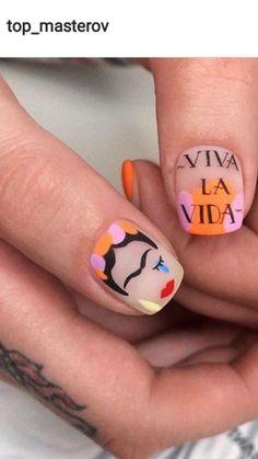 Nail art with quote Nail Design Stiletto, Nail Design Glitter, Nails Design, Get Nails, Love Nails, How To Do Nails, Gel Nail Art, Nail Polish, Short Nail Designs
