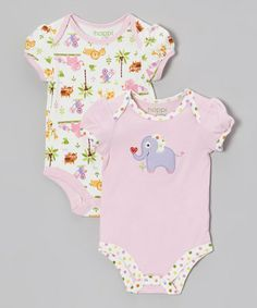 Take a look at this Pink Jungle Friends Bodysuit Set - Infant by Happi by Dena on #zulily today!