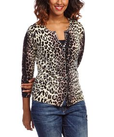 Look at this berek Brown & Cream Leopard Luster Cardigan on #zulily today!