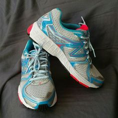 New Balance running shoes New Balance Running shoes 580 v4, size 8.5. White mesh over gray fabric with turquoise and coral accent colors. Only worn a few times on the treadmill, and they're super comfortable! New Balance Shoes Athletic Shoes