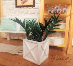 Handmade Dollhouse Miniature Plant.  Size: Height about 9 cm (3,5 inch). Pot is 4x4 cm square. (1,6 inch x 1,6 inch).