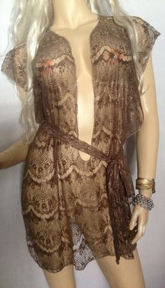a8a9f91f4a Camisk Slave Dress Gorean Kajira Submissive Exotic Dancer Clubwear Beach  Cover-up Fantasy Dress Tawny Brown Lace