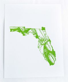 Florida Orange Blossom State Flower Letterpress Print | something special every day