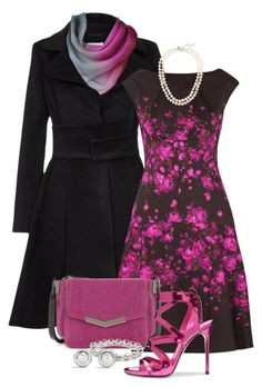 """Magenta and Black"" by regatta-1 ❤ liked on Polyvore featuring Patrizia Pepe, Lela Rose, Time's Arrow, J.Crew, David Yurman, Casadei, black and magenta"