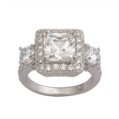 Platinum Plated Sterling Silver Cubic Zirconia Ring  $49    #Ring