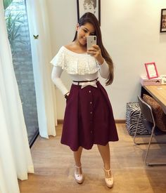 Shop sexy club dresses, jeans, shoes, bodysuits, skirts and more. Trend Fashion, Cute Fashion, Modest Fashion, Girl Fashion, Fashion Dresses, Modest Outfits, Skirt Outfits, Dress Skirt, Cute Outfits