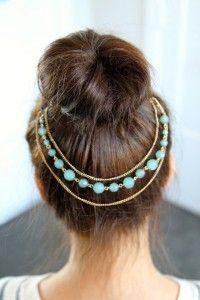 Teased High Bun Hair Jewelry - http://www.cutegirlshairstyles.com/