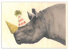 Rhino party hats, Image 4 of Ohh Deer Rufus Greeting Card February 2015