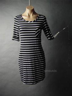 French Gamine Black White Striped Nautical Sailor Knit T-Shirt Dress / tomboy / Americana / sporty chic style / Tambukiki Ebay Store