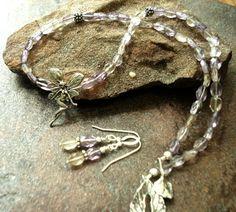 Fairy Ametrine Necklace Set  Handcrafted Sterling by JensFancy