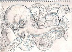 sea stuff tattoo sketch by mojoncio on DeviantArt – octopus tattoo Octopus Drawing, Octopus Tattoo Design, Octopus Tattoos, Octopus Art, Tentacle Tattoo, Octopus Sketch, Tattoo Designs, Flash Art Tattoos, Body Art Tattoos