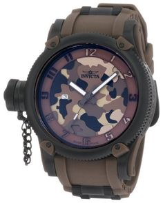 Invicta Men's 1198 Russian Diver Brown Camouflage Dial Polyurethane Watch Invicta. Save 81 Off!. $187.74. Brown camouflage dial with brown hands and perforated arabic numerals; Luminous; Black ion-plated coin edge bezel; Secured screw-down protective cap on crown, positioned at 9:00. Swiss Quartz movement. Water-resistant to 330 feet (100 M). Flame-fusion crystal; Matte black ion-plated stainless steel case; Brown polyurethane strap with black ion-plated stainless steel barrel inserts. Date…