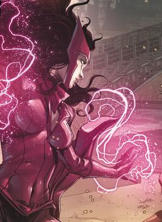 Wanda Maximoff (or Scarlet Witch) is the twin sister of her brother Pietro who has an expert level knowledge of sorcery and has the ability to manipulate probability via so called 'hexes'.