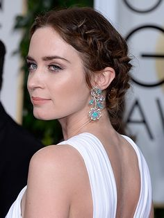 Emily Blunt Grecian Braids with bronze eyeshadow and natural pink lipstick