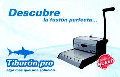 Engargoladora Tiburón Pro, Paso 3:1 y 2:1, Perforación Cuadrada, Encuaderna hasta 280 hojas, Tamaño carta, Perfora 15 hojas por bajada.