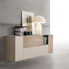 Beige ultramodern bookshelf 'Kylie' wall unit by Santa Lucia