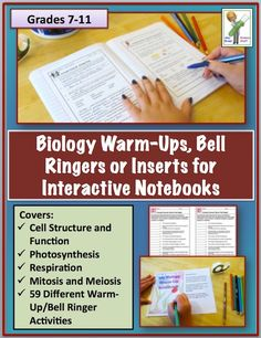 Biology Interactive Notebook, Warm Ups, Bell Ringers: Cell Structure and Physiology Unit. 59 Student Pages Biology Classroom, Biology Teacher, Science Biology, Teaching Biology, Science Education, Teaching Tips, Life Science, Ap Biology, Science Fun