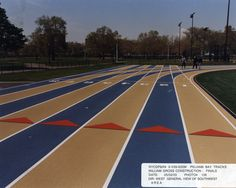 Colored synthetic rubber track
