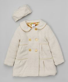 So Cute!   Penelope Mack Ivory & Gold Swing Coat & Beret - Infant, Toddler & Girls | zulily