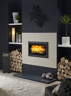 Modern Fireplace That Inspire You To Create Yours Design Inspiration Inviting a fireplace in your living space can be a great idea. It can warp up your room during a cold season. A fireplace should be cozy, thus you sho. Inset Fireplace, Log Burner Fireplace, Home Fireplace, Fireplace Inserts, Wood Burner, Modern Fireplace, Fireplace Surrounds, Fireplace Design, Fireplace Ideas