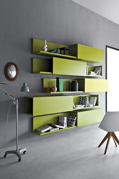 Interior design / room room the shelves color and the contrast Cool Furniture, Modern Furniture, Furniture Design, Modular Furniture, Bookcase Shelves, Storage Shelves, Sliding Shelves, Bookshelf Ideas, Modern Bookcase