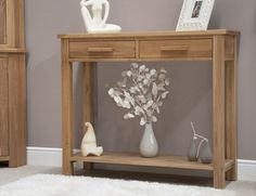 Milan Oak 2 Drawer Console / Hall Table