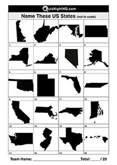 20 of the most gettable US states in the form of a silhouette. This will still challenge the best travellers at your next trivia event! Quizzes And Answers, Silhouette Pictures, U.s. States, Famous Faces, Trivia, Challenges, Warm, Link, Ideas