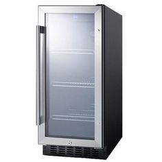 Summit 15 Inch Glass Door Beverage Center - http://www.bigsmallappliances.com/summit-15-inch-glass-door-beverage-center/ Product Features Black cabinet with stainless steel door trim Slim 15 width for narrow spaces Suitable for built-in or freestanding use Product Description Designed for freestanding use or built-in installation in narrow 15-inch wide spaces, the Summit 15 Inch Glass Door Beverage...