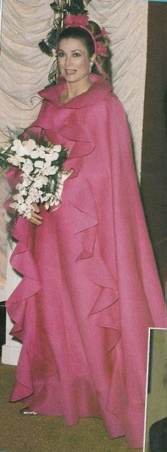 This is an absolutely stunning outfit worn by Princess Grace. It was worn on at least three occasions one of which was the Monaco Rose Ball in 1971. The ensemble was on display in the Grimaldi Forum...