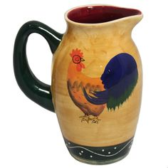 Classic Rooster Collection Deluxe Ceramic Hand-Painted Water Pitcher opening bid $24.99 with 9 sh on ebay
